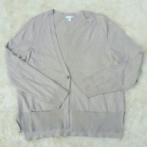 J. Jill silk blend tan cardigan sweater medium